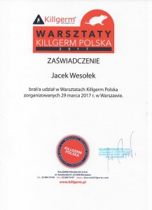Jacek Wesołek - Certyfikat Killgerm